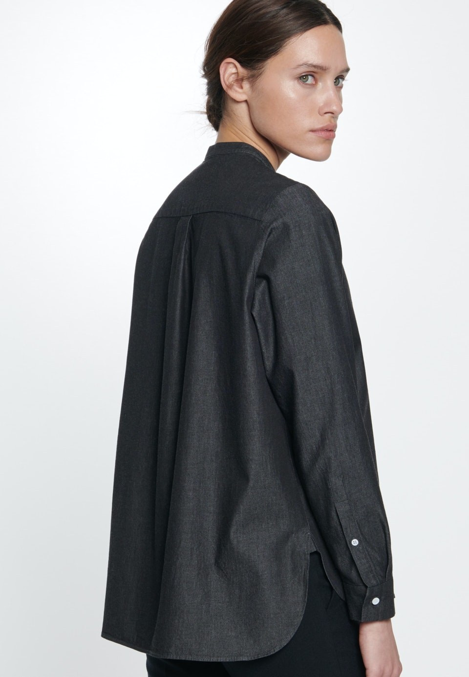 Denim Stand-Up Blouse made of 100% Cotton in Grey |  Seidensticker Onlineshop