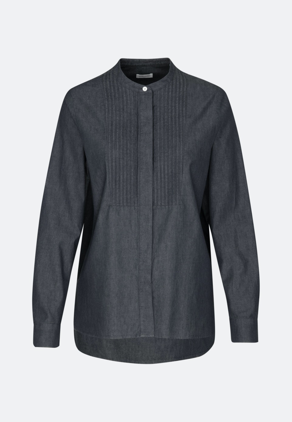 Denim Stehkragenbluse aus 100% Baumwolle in Grau |  Seidensticker Onlineshop