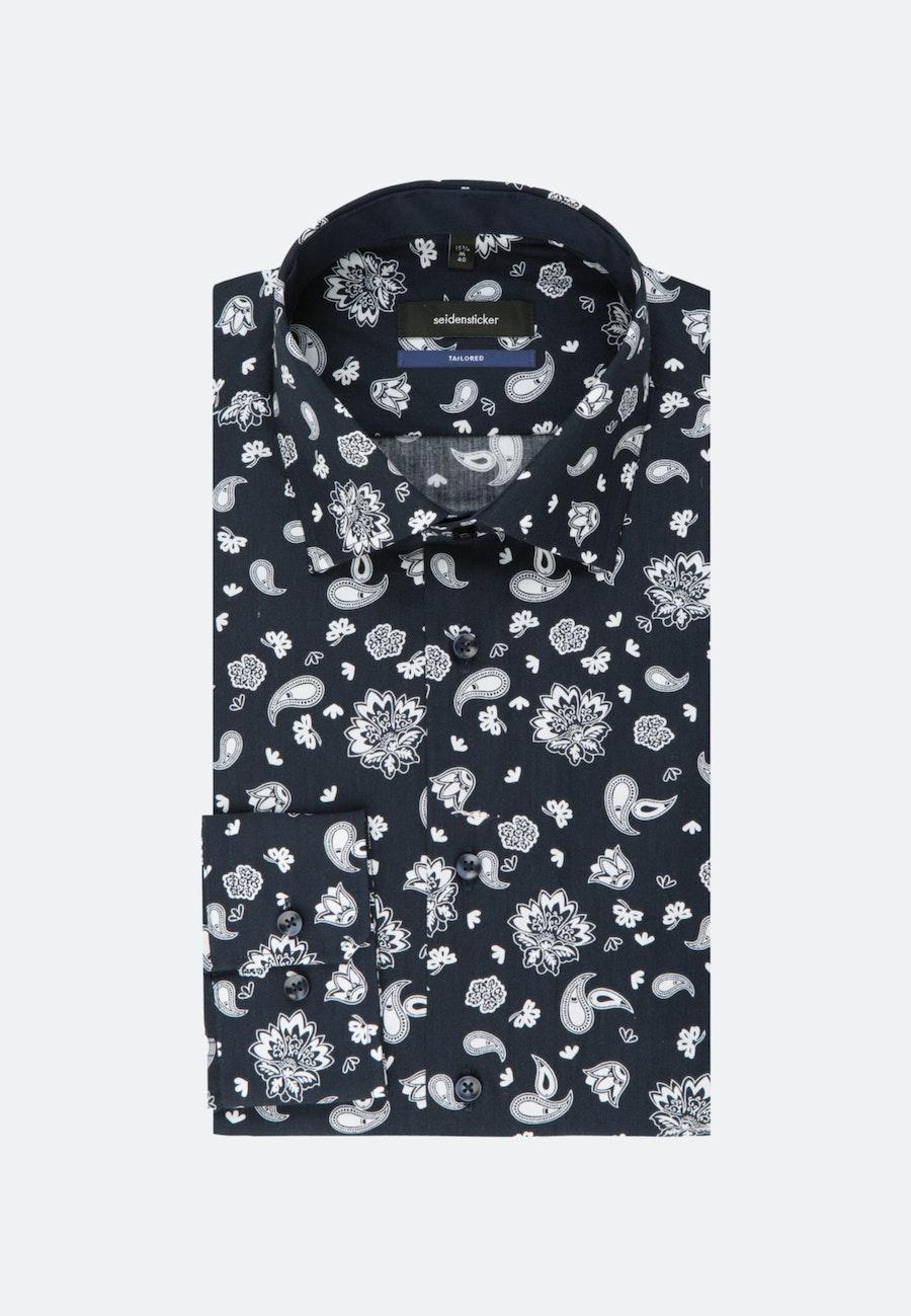 Easy-iron Poplin Business Shirt in Shaped with Kent-Collar in Dark blue    Seidensticker Onlineshop