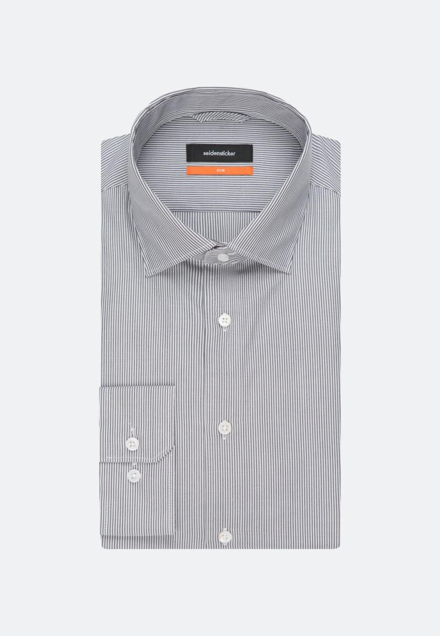 Bügelleichtes Popeline Business Hemd in Slim mit Kentkragen in Grau |  Seidensticker Onlineshop