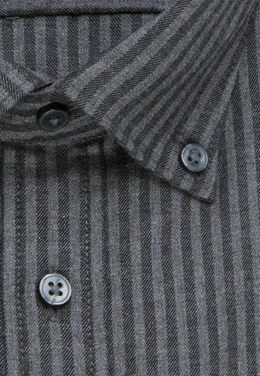 Bügelleichtes Twill Business Hemd in Slim mit Button-Down-Kragen in Grau |  Seidensticker Onlineshop